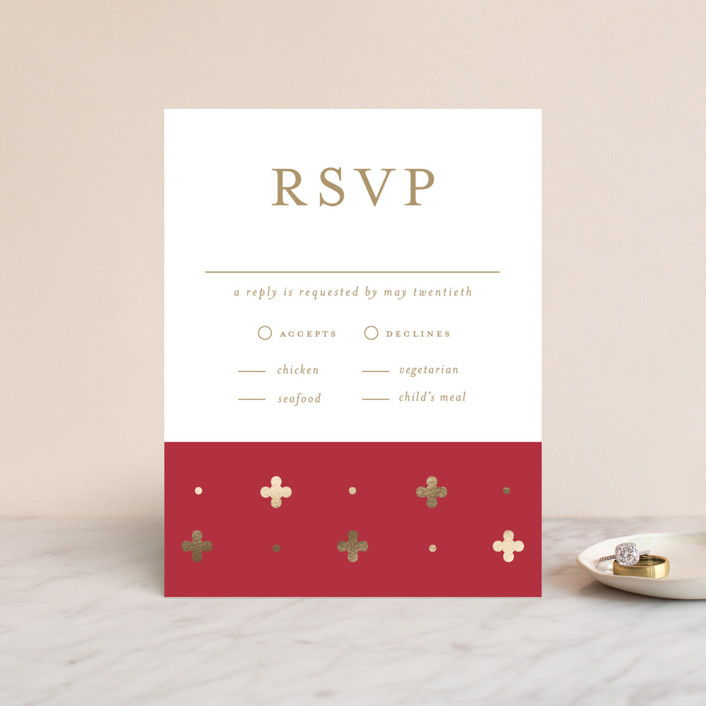 """""""Venice"""" - Modern Foil-pressed Rsvp Cards in Chili by Susan Brown."""