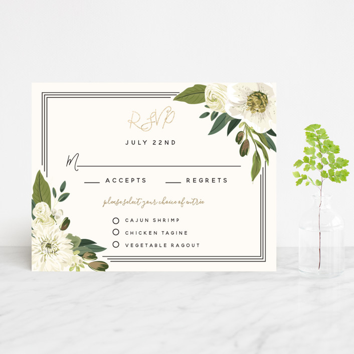 """Garden Blooms"" - Foil-pressed Rsvp Cards in Ivory by Susan Moyal."