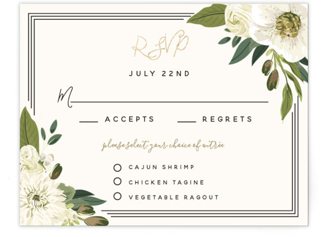 This is a botanical, painterly, black and white, gold RSVP Cards by Susan Moyal called Garden Blooms with Foil Pressed printing on Signature in Card Flat Card format. This wedding design features a hand drawn floral frame