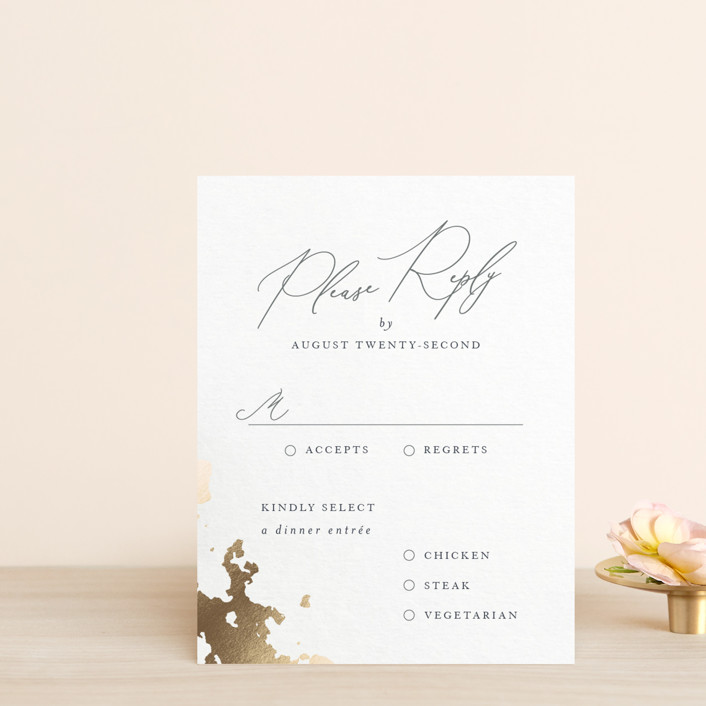 """""""far and away"""" - Foil-pressed Rsvp Cards in Lily by Design Lotus."""