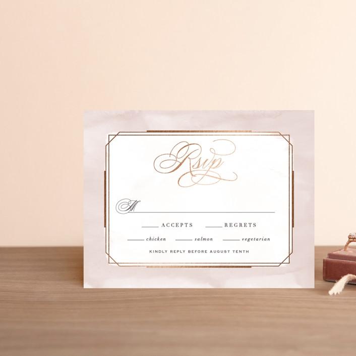 """Forever Elegant"" - Foil-pressed Rsvp Cards in Mauve by Hooray Creative."