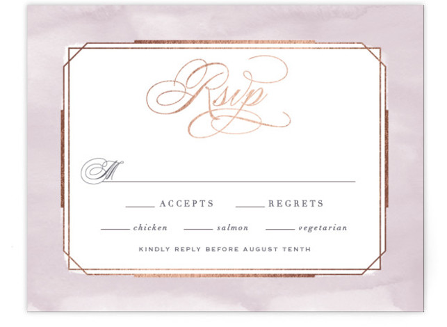 This is a purple, rosegold RSVP Cards by Hooray Creative called Forever Elegant with Foil Pressed printing on Signature in Card Flat Card format. An elegant, typographic design with subtle, textured border and rose gold accents.