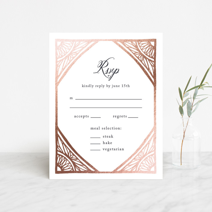 """Deco Corners"" - Foil-pressed Rsvp Cards in Navy by Katharine Watson."