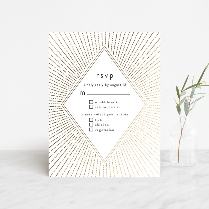 """Apache"" - Foil-pressed Rsvp Cards in Navy by Annie Montgomery."