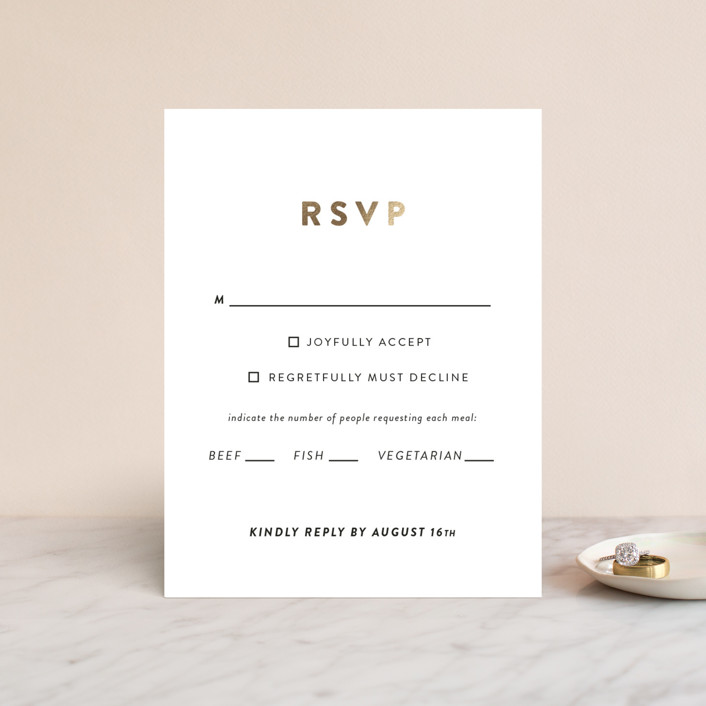 """Outline"" - Modern Foil-pressed Rsvp Cards in Ash by Up Up Creative."