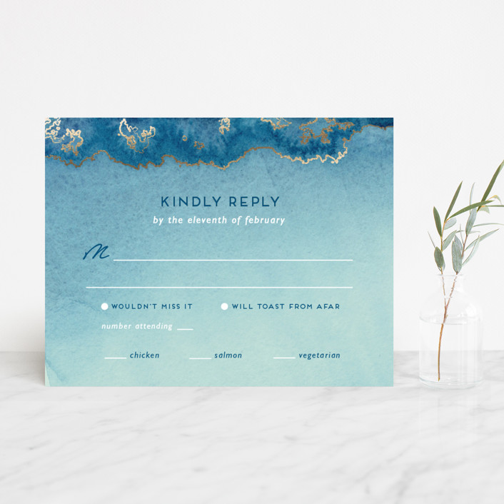 """""""Sea Crest"""" - Modern Foil-pressed Rsvp Cards in Turquoise by Kaydi Bishop."""