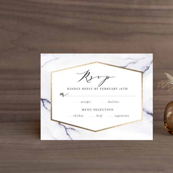 """Marbled"" - Foil-pressed Rsvp Cards in Golden Meadow by Itsy Belle Studio."