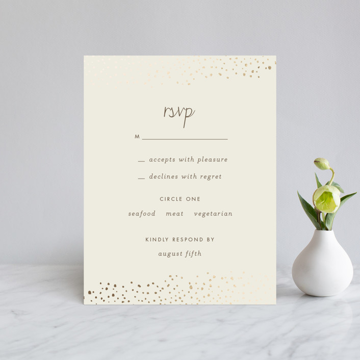 """Dewdrop"" - Modern Foil-pressed Rsvp Cards in Champagne by Sara Hicks Malone."
