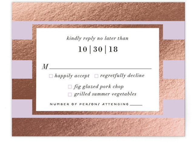 This is a landscape bold and typographic, preppy, purple RSVP Cards by Cheer Up Press called Romantic Stripes with Foil Pressed printing on Signature in Card Flat Card format. A beautiful sage green pairs with real gold foil stripes to ...
