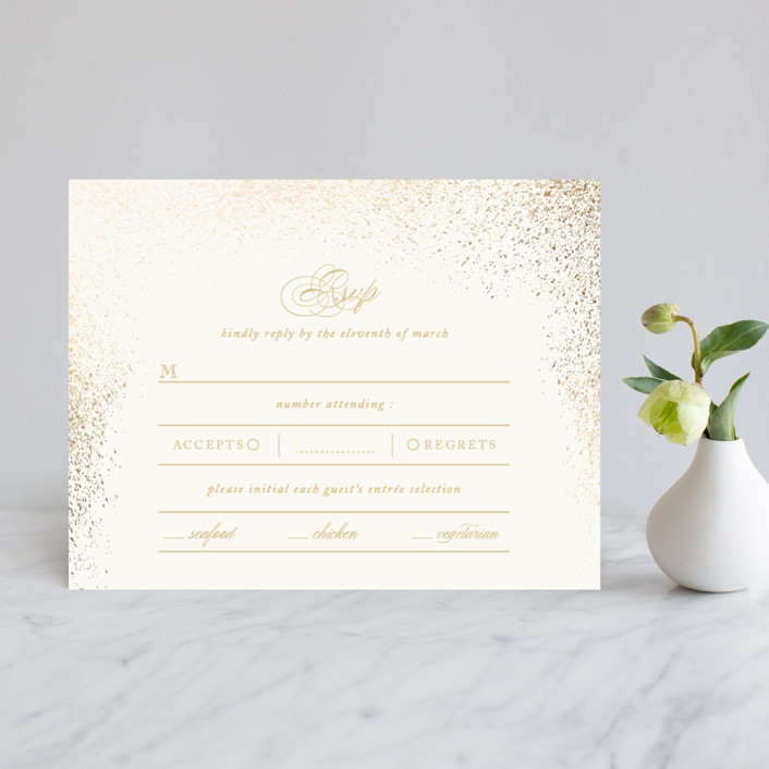 """""""Golden Dust"""" - Elegant, Classical Foil-pressed Rsvp Cards in Charcoal by fatfatin."""