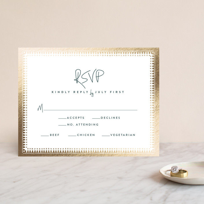 """trinkets"" - Foil-pressed Rsvp Cards in Gold by Carolyn Nicks."