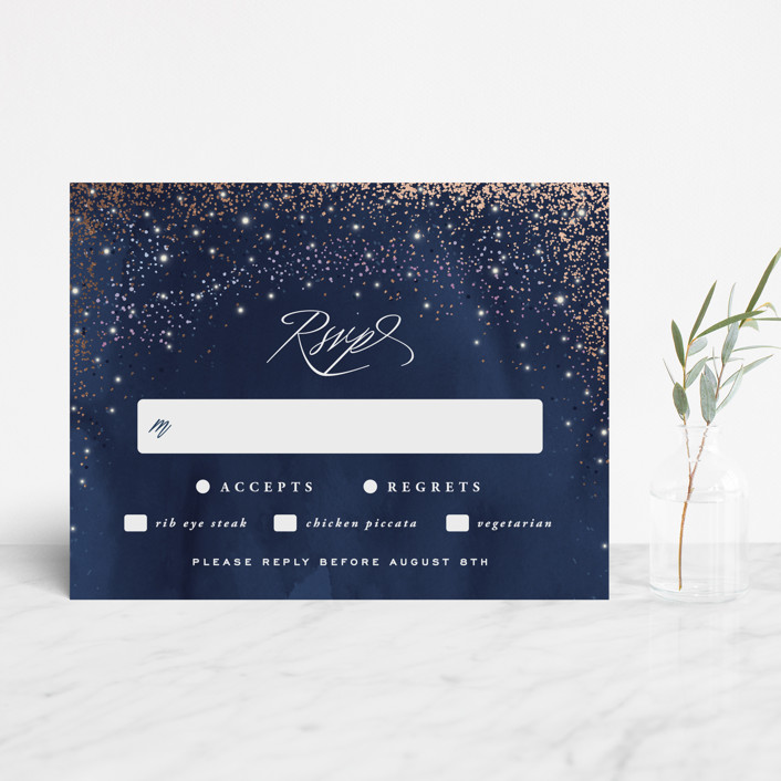 """Sparkling Night Sky"" - Foil-pressed Rsvp Cards in Midnight by Hooray Creative."