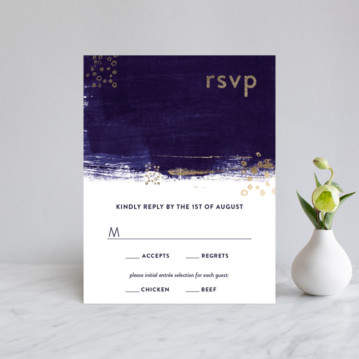 """Painted Canvas"" - Modern Foil-pressed Rsvp Cards in Sapphire by Robin Ott."