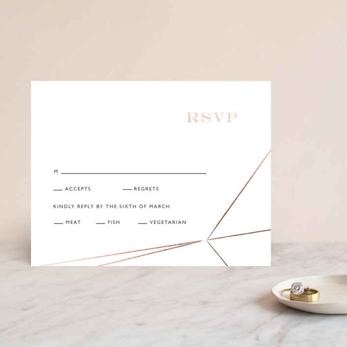 """""""Prism"""" - Abstract, Modern Foil-pressed Rsvp Cards in Mist by Kelly Ventura."""