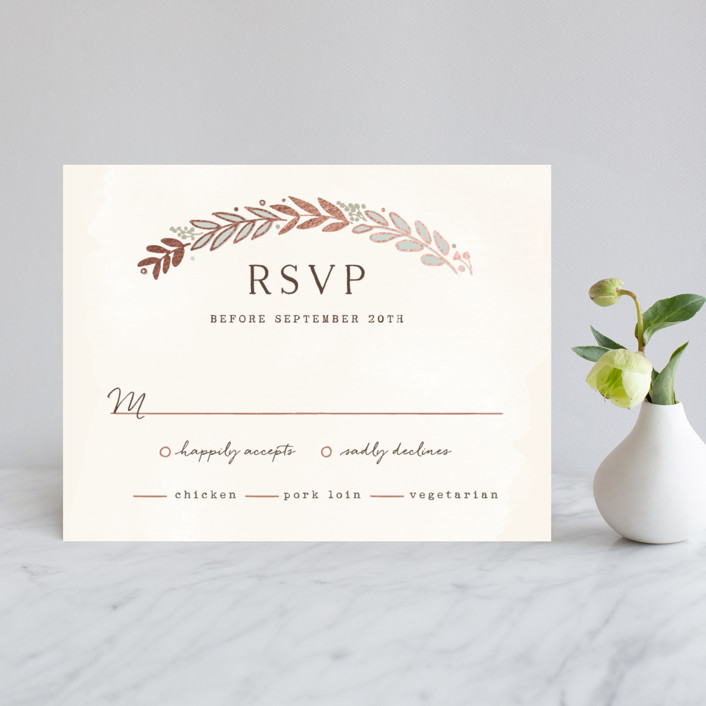 """Rustic Wreath"" - Rustic, Hand Drawn Foil-pressed Rsvp Cards in Rose Gold by Hooray Creative."