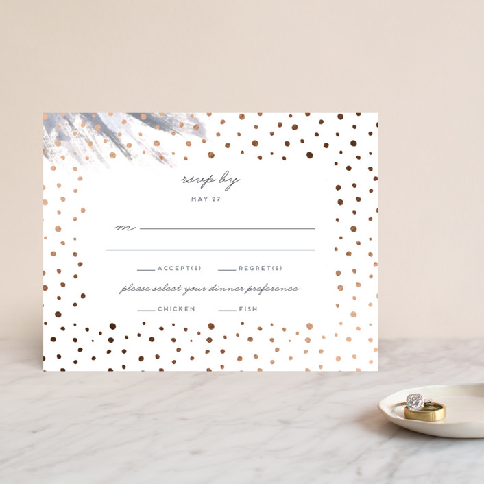 """Shimmering Statement"" - Bohemian Foil-pressed Rsvp Cards in Dove by Simona Camp."