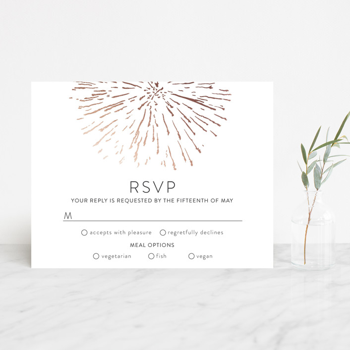 """Sparks"" - Whimsical & Funny Foil-pressed Rsvp Cards in Rose Gold by R studio."
