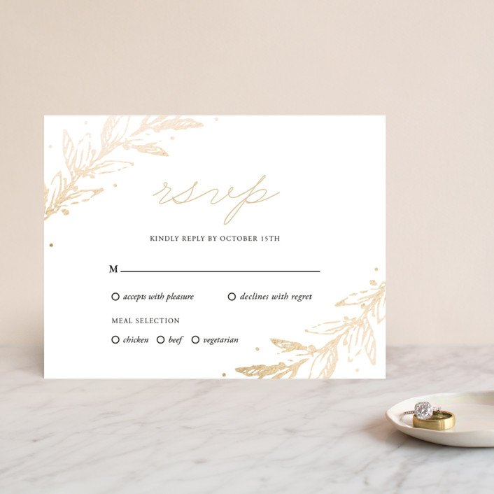 """Winter's Garden"" - Foil-pressed Rsvp Cards in Gold by Oma N. Ramkhelawan."