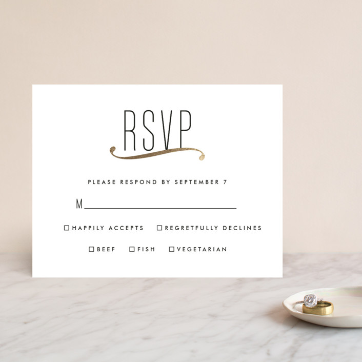 """""""Connected"""" - Simple, Modern Foil-pressed Rsvp Cards in Gold by Tim St. Clair."""