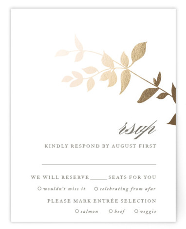 This is a portrait botanical, beige RSVP Cards by Jennifer Postorino called Daydream with Foil Pressed printing on Signature in Card Flat Card format. This elegant offset wedding invitation features a whimsical branch and sophisticated topography.