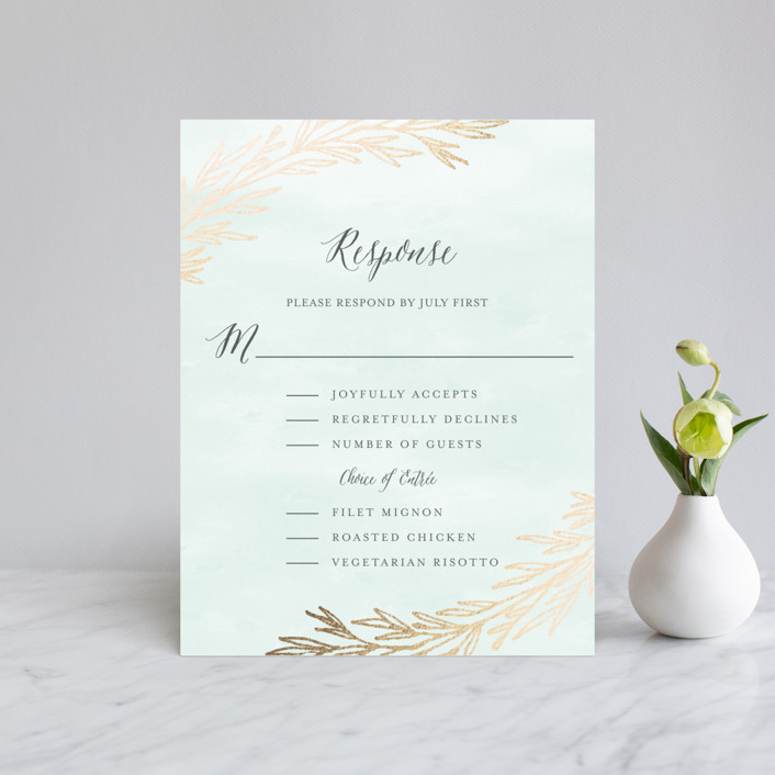 """Embrace"" - Foil-pressed Rsvp Cards in Sea Mist by Grace Kreinbrink."