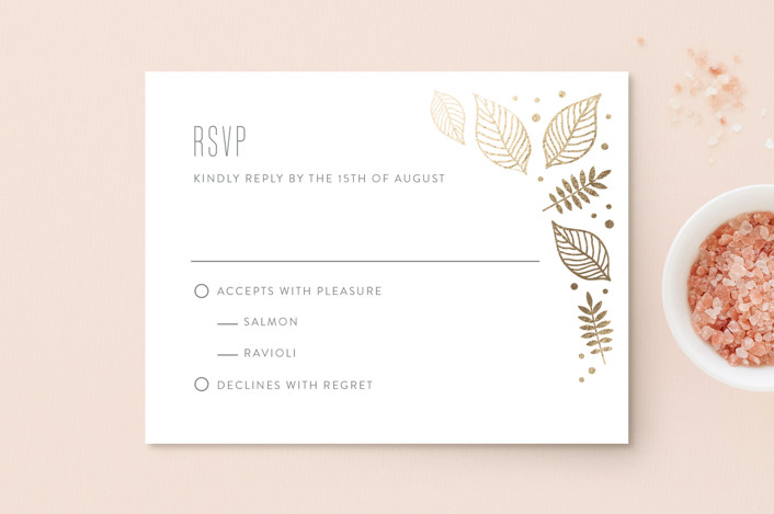 """Eternal Autumn"" - Foil-pressed Rsvp Cards in Pomegranate by Smudge Design."