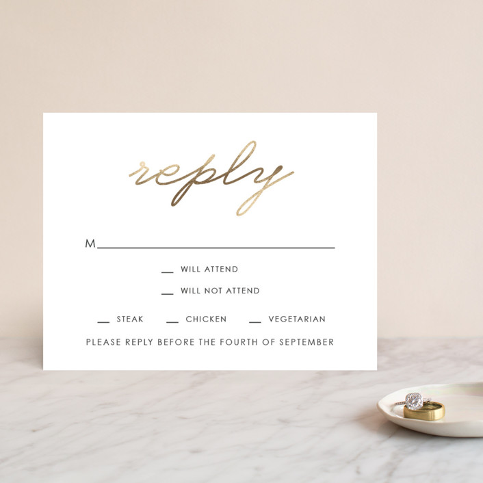 """""""Love Lasso"""" - Modern, Simple Foil-pressed Rsvp Cards in Gold by Kim Dietrich Elam."""