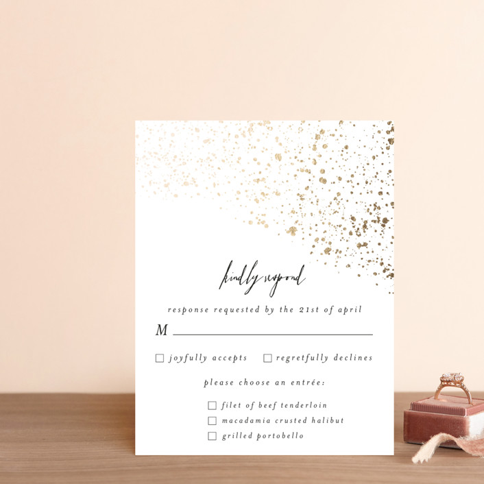 """glistening stardust"" - Foil-pressed Rsvp Cards in Onyx by Angela Marzuki."