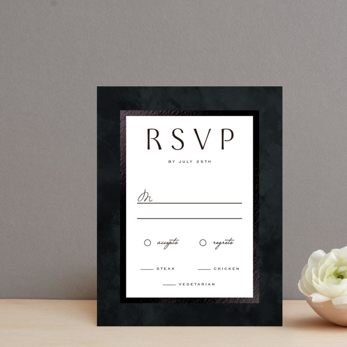 """Element"" - Foil-pressed Rsvp Cards in Tuxedo by Yuliya Evseeva."