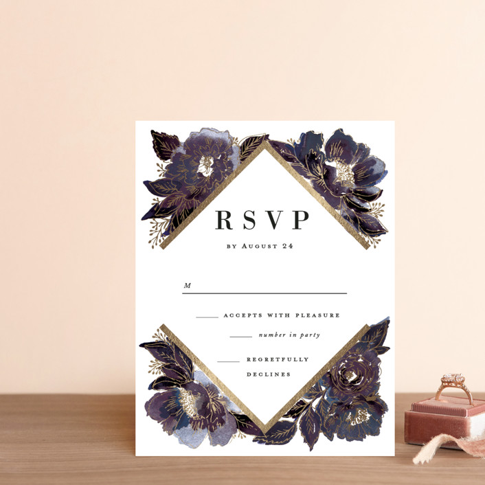 """Painted Peony Corners"" - Foil-pressed Rsvp Cards in Orchid by Alethea and Ruth."