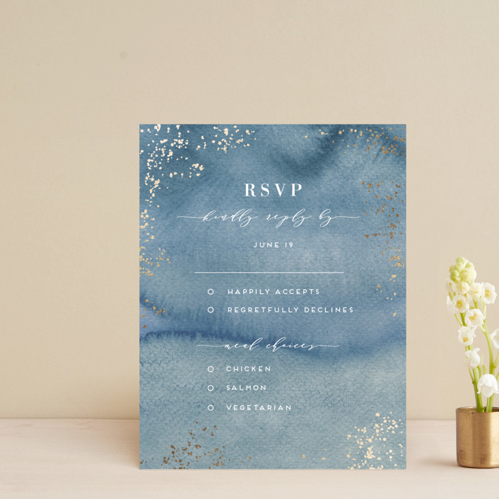 """""""Abstract seaside"""" - Bohemian Foil-pressed Rsvp Cards in Seaside by Alexandra Dzh."""