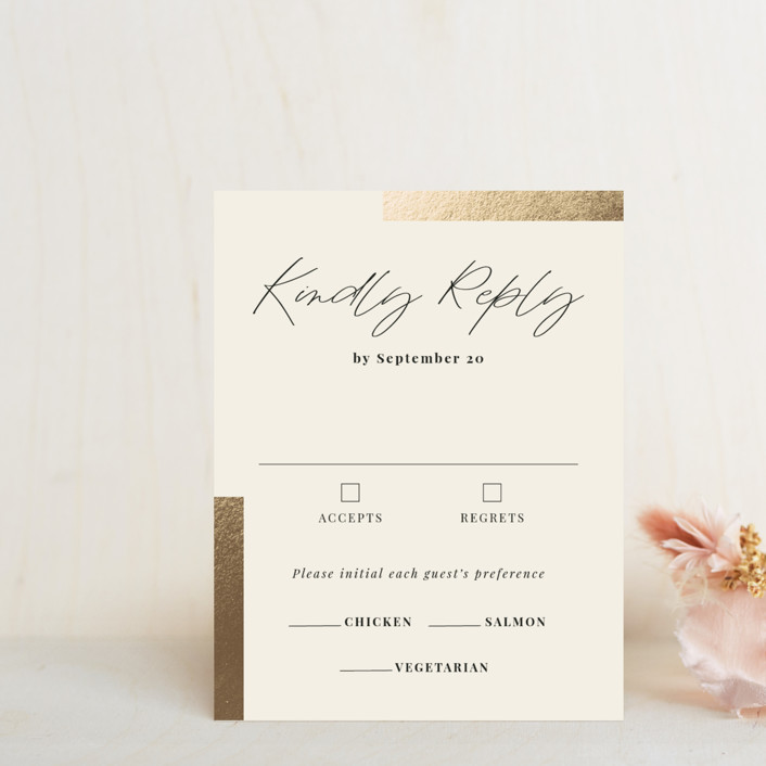 """""""Hand notes"""" - Foil-pressed Rsvp Cards in Cream by Yaling Hou Suzuki."""