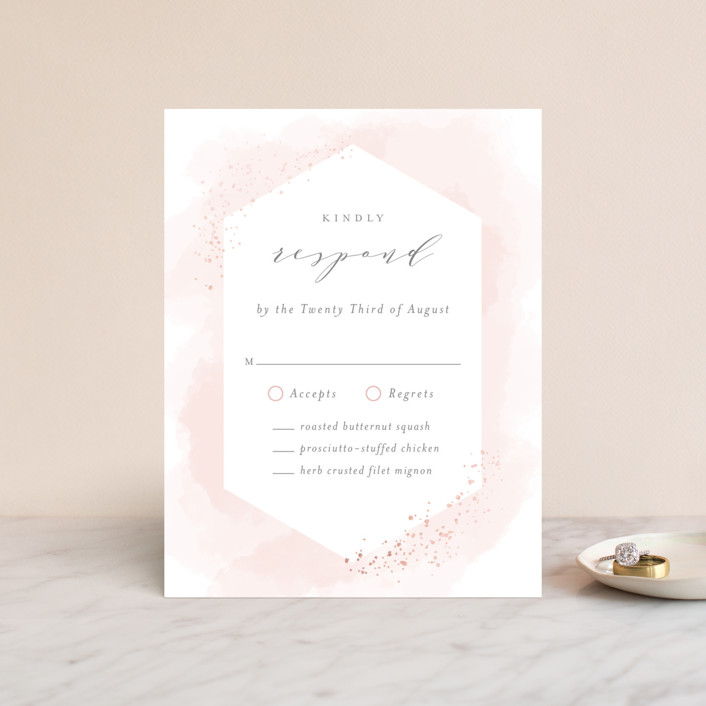 """Sparkling Champagne"" - Modern Foil-pressed Rsvp Cards in Blush by Kristie Kern."