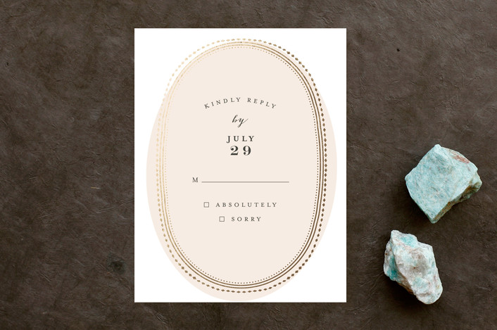 """Gold Portrait"" - Whimsical & Funny Foil-pressed Rsvp Cards in Cream by Phrosne Ras."