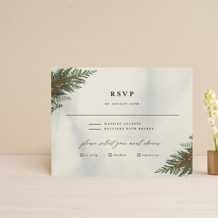 """Fresh Vines"" - Rustic Foil-pressed Rsvp Cards in Fern by Susan Moyal."