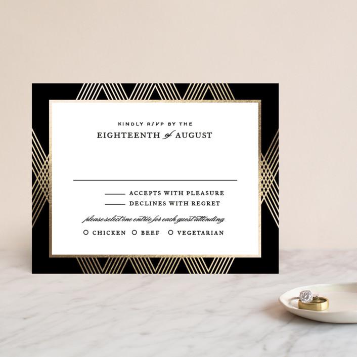 """Grandiose"" - Foil-pressed Rsvp Cards in Onyx by Jennifer Postorino."