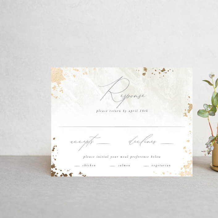 """Fresco"" - Modern Foil-pressed Rsvp Cards in Plaster by Robert and Stella."