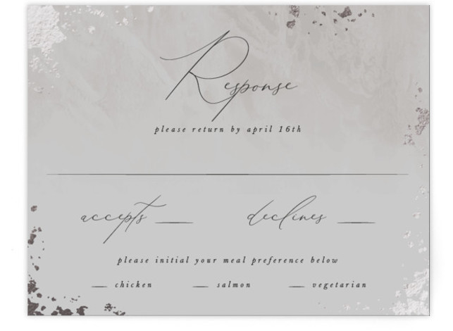 This is a portrait modern, painterly, grey RSVP Cards by Robert and Stella called Fresco with Foil Pressed printing on Signature in Card Flat Card format. A romantic wedding invitation inspired by european fresco and gilded details
