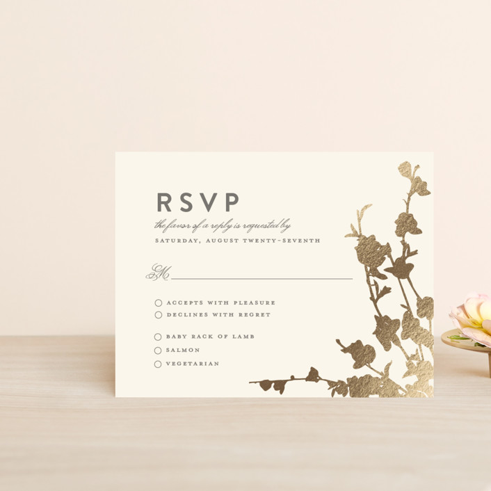 """In Bloom"" - Foil-pressed Rsvp Cards in Graphite by Three Kisses Studio."
