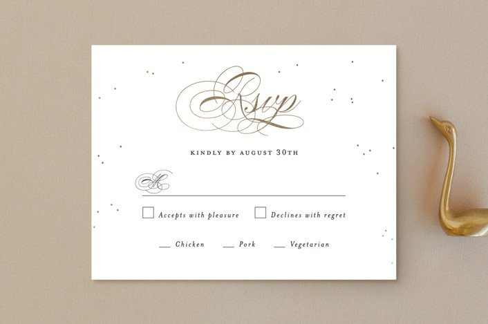 """Oh Happy Day"" - Foil-pressed Rsvp Cards in Gold by Design Lotus."