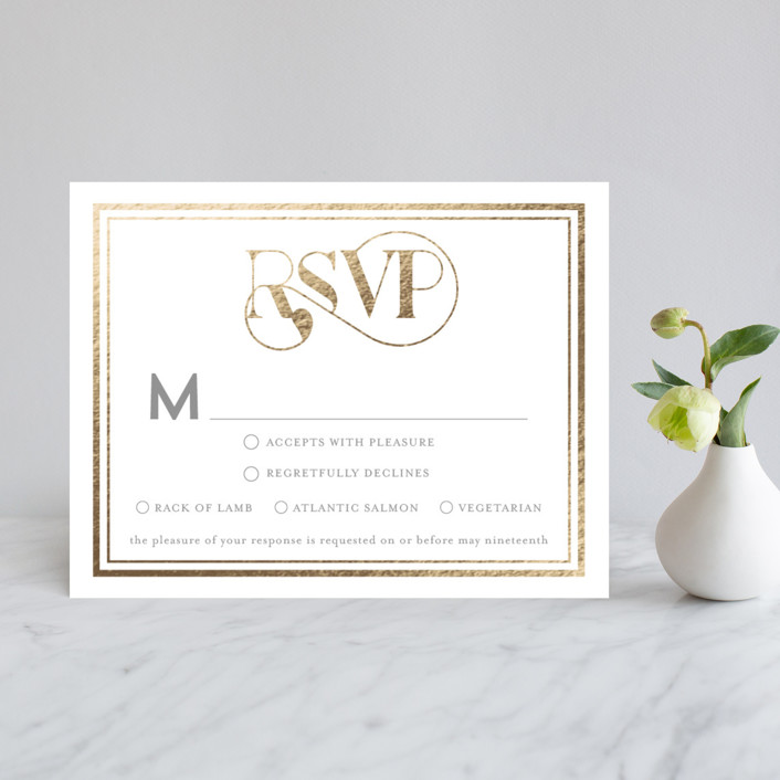 """Our Gilded Love"" - Foil-pressed Rsvp Cards in Dove by AK Graphics."