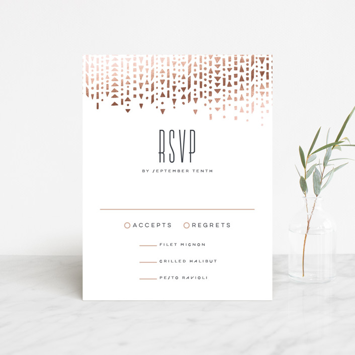 """""""Handdrawn Geometrics"""" - Vintage Foil-pressed Rsvp Cards in Charcoal by Hooray Creative."""