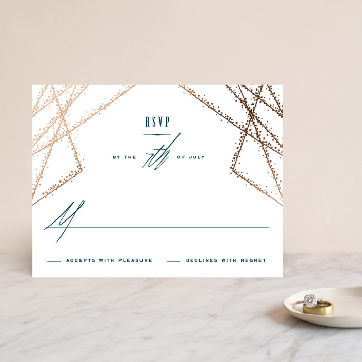 """""""Starcrossed"""" - Foil-pressed Rsvp Cards in Twilight by Ashley Hegarty."""