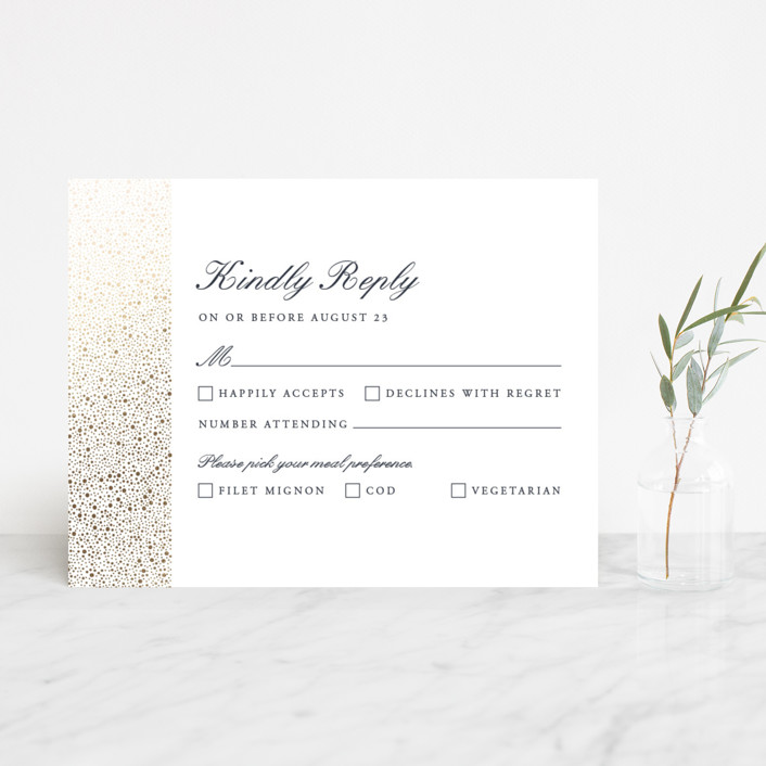 """glittered"" - Foil-pressed Rsvp Cards in Charcoal by Erin Deegan."