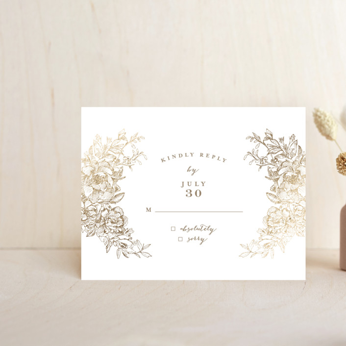 """""""Engraved Flowers"""" - Foil-pressed Rsvp Cards in Gold by Phrosne Ras."""