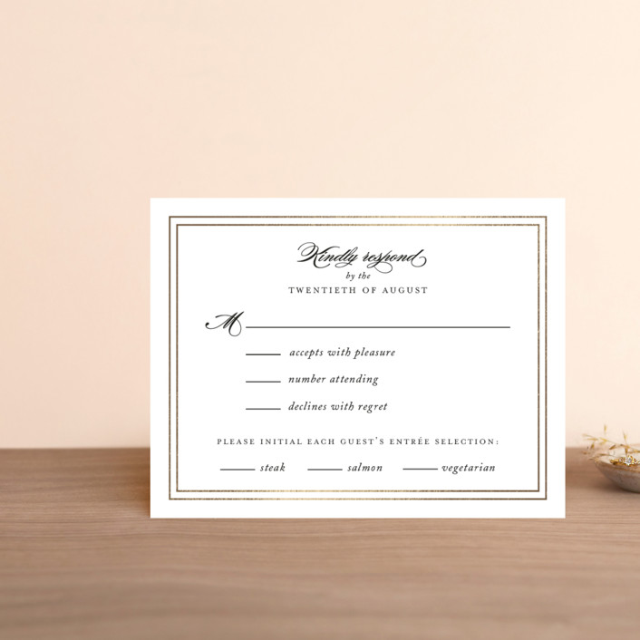 """""""Eloquence"""" - Foil-pressed Rsvp Cards in Snow by Kimberly FitzSimons."""