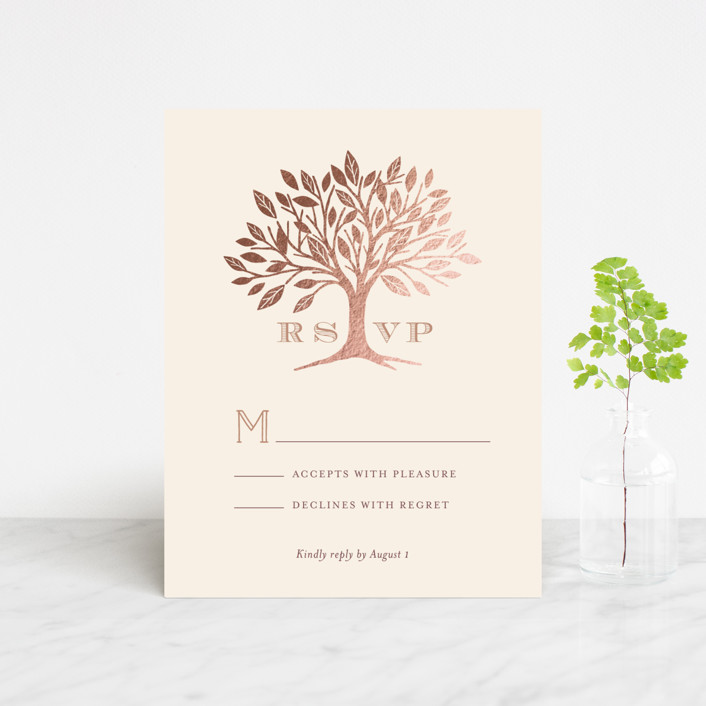 """Enchanted"" - Monogrammed, Rustic Foil-pressed Rsvp Cards in Maple by Griffinbell Paper Co.."