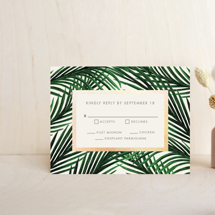 """""""Tropical Love"""" - Foil-pressed Rsvp Cards in Ivory by Elly."""