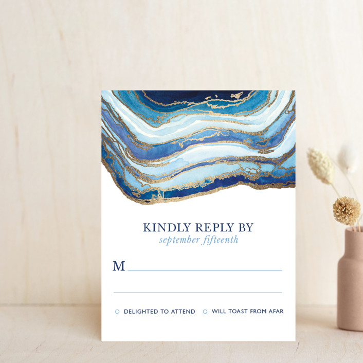 """""""Gilt Agate"""" - Bohemian, Rustic Foil-pressed Rsvp Cards in Navy by Kaydi Bishop."""