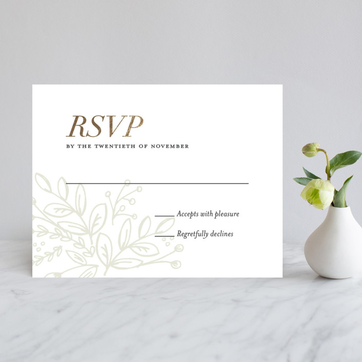 """""""Graceful"""" - Rustic Foil-pressed Rsvp Cards in Gold by Jessica Williams."""